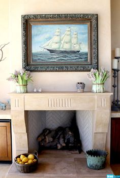 Yolanda Foster, Beverly Hills Housewives-star, shows off her fireplace complete with sailboat painting. For more pics of her house, http://www.organizingla.com/organizingla_blog/2013/03/real-housewives-beverly-hills-yolanda-foster-organized-mom.html