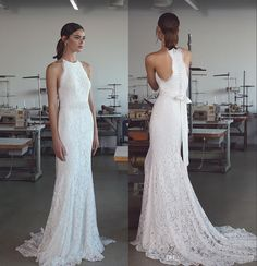 Trumpet Mermaid Wedding Dresses 2017 Lihi Hod With Halter Neck & Sweep Train Fully Classy Elegant Lace Beach Bridal Gowns Sleeveless V Neck Mermaid Wedding Dress Wedding Dresses Gowns From Uniquebridalboutique, $111.91| Dhgate.Com