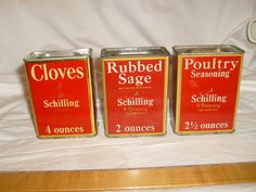 Lot of 3 Vintage A Schilling & Co. San Francisco  Spice Tins, POULTRY SEASONING #ASCHILLING