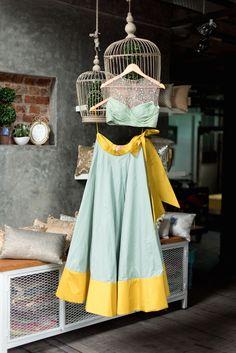 Anushree Reddy mint green pastel lehenga