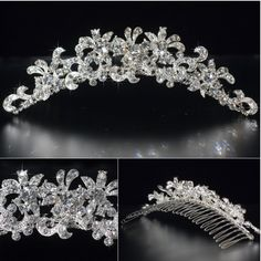 Prom Jewelry | Silver Pave Crystal Tiara Comb Wedding Bridal Prom