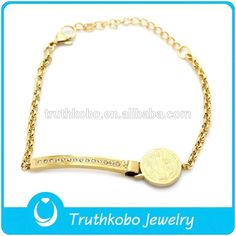 Gold Chain Bangle with Diamond Christian Saint Benedict Medal Cheap 316L Stainless Steel Bracelet Jewelry