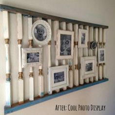 gallery wall from salvage yard to modern photo display, repurposing upcycling, wall decor Picture Frame Decor, Picture Shelves, Picture Walls, Photo Walls, Rustic Gallery Wall, Gallery Walls, Old Cribs, Living Vintage, Banisters