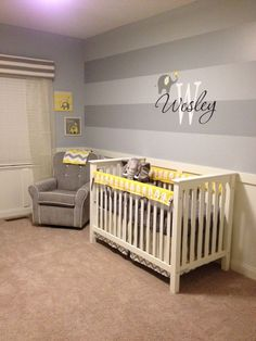 Project Nursery - Welsey's Yellow and Gray Elephant Nursery- crib and wall stripes