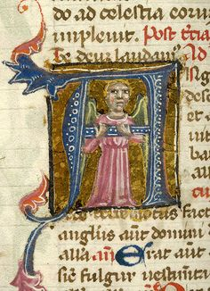 Angel, enclosed in initial A | Breviary | Italy, probably Taranto | 1350-1400 | The Morgan Library & Museum