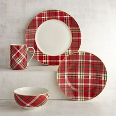 Is there anywhere plaid can't go? We don't think so. In fact, our porcelain dinnerware and its festive red, white and green pattern look quite at home on your holiday table. Plus, it's microwaveable and dishwasher-safe.