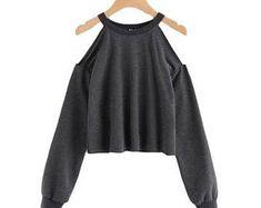 Heathered Open Shoulder Pullover Sweatshirt