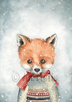 Nieuwjaarsbrief An Melis Winter Illustration, Cute Illustration, Christmas Pictures, Christmas Art, Merry Christmas Wallpaper, Fox Drawing, Winter Painting, Fox Art, Illustrations