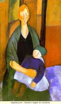 Amedeo Modigliani. Seated Woman with Child. Olga's Gallery.
