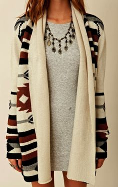 Stylish oversized cardigan with grey blouse