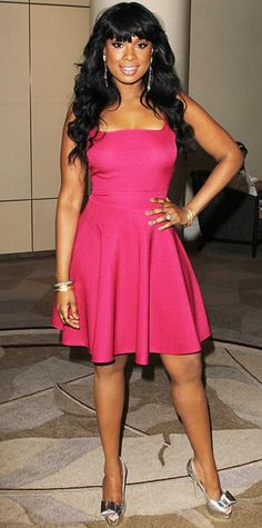 Look of the Day › February 22, 2013 WHAT SHE WORE Hudson lunched with Essence in a bright pink dress that she styled with statement danglers, stacked bangles and silver stilettos.