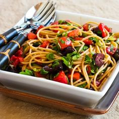 Whole Wheat Spagetti with No-Cook Sauce of Tomatoes, Arugula, Olives, and Capers from Kalyn's Kitchen