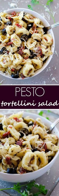 Cheesy tortellini pasta covered in pesto, bacon, cheese and olives. This always goes fast when I serve it
