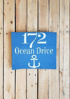 STREET ADDRESS PLAQUE House Numbers, Anchor, Beach House Decor, Nautical, Porch Sign, Personalized, Housewarming Gift, Rustic Sign Address Signs, Address Plaque, Chalk Paint Colors, Beach House Decor, Home Decor, Porch Signs, Rustic Signs, House Numbers, Wood Pallets