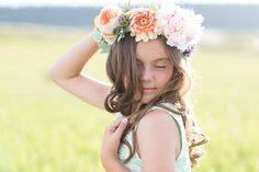 Flowers by Lace and Lilies, flower crown, flower halo, garden rose, peony, dahlia, flower girl halo