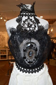 A beautiful one-of-a-kind Victorian era French Jet beaded lace bodice choker necklace is created with yards of rare 1800s French jet caviar beaded