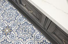 Villa Azul Tile in Bar Ceramic Wall Tiles, Mosaic Tiles, Cement Tiles, Painting Cement, Blue Tiles, Decorative Tile, Color Of The Year, Tile Patterns, Tile Design