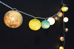 20 Lights - Green Tone 5 Color Cotton Ball String Lights Fairy Lights Patio Lights Wedding Lights Decoration Lights