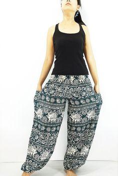ST90 Thai Women Clothing Comfy Rayon Bohemian Trousers Hippie Baggy Genie Boho Pants Elephant Dark Green Maxi Pants, Harem Trousers, Trousers Women, Gypsy Pants, Boho Pants, Genie Pants, Aladdin Pants, Denim And Supply, Ralph Lauren Tops