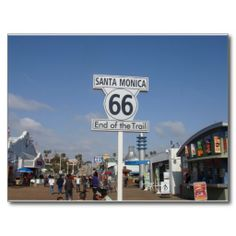 Shop Santa Monica, California - RT 66 Postcard created by WanderingWonders. Santa Monica California, California Dreamin', Vintage California, Customized Girl, Photo Postcards, Route 66, Custom Posters, Postcard Size, Backdrops