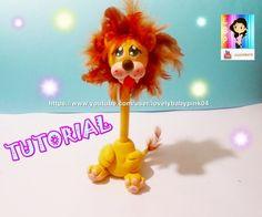 Lion Pen Holder cold porcelain DIY - Boligrafo Decorado León porcelana fria