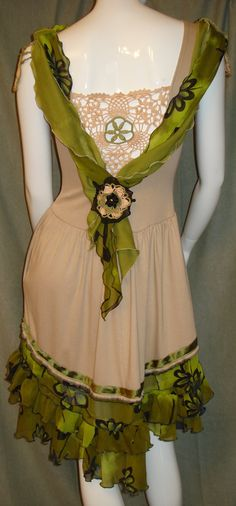Altered couture WEARABLE cotton summer dress upcycled by natatusy, $55.00