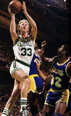 Larry Bird goes to the hoop- 1986