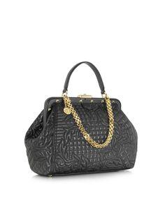 f7a5126e6423 Vanitas Borsa in Pelle Nera con Ricamo Barocco Versace