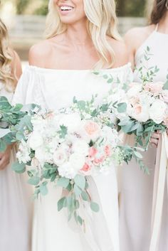 Cascading wedding bouquets: Photography : Julie Paisley Photography Read More on SMP: http://www.stylemepretty.com/little-black-book-blog/2017/03/01/romantic-boho-nashville-wedding/