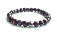 men's shamballa beaded stretch bracelet handmade jewelry gift WOOD GLASS beads #Handmade #Shamballa #FormalandCasual