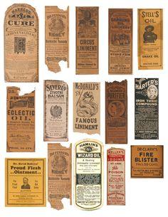 Vintage apothecary labels ephemera digital collage sheet for Halloween medicine bottles