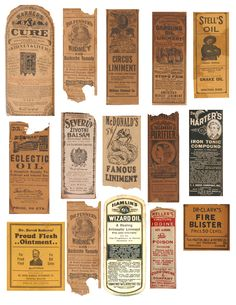 vintage medicine bottle labels (real) sheet 3 of 3 - superb!
