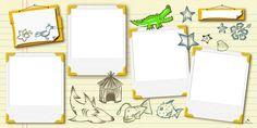 Plantilla Child 29x58 para la Creación de Foto Libros - Imagen Fondo Tropical, decorada con animales acuáticos. Dispone de 4 casillas para insertar fotografías que simulan instantáneas Polaroid. Es posible poner mensajes o rótulos tanto en los tablones como debajo de cada una de las imágenes.