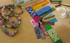 Making Ribbon Beads – Janet Haigh : Her Work Fabric Beads, Paper Beads, Fabric Scraps, Fabric Paper, Fabric Bracelets, Fabric Necklace, Textile Jewelry, Fabric Jewelry, Bead Jewellery