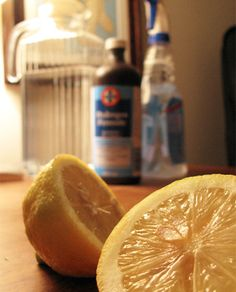 Home made hydrogen peroxide all purpose cleaner:  2 cups Water  1 cup Hydrogen Peroxide  ¼ cup Lemon Juice
