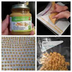 Frozen Baby Food Dots - Great idea for self-feeders and soothes sore, teething gums. Step 1 - gather parchment paper, cookie sheet, plastic bag, baby food. Step 2 - line cookie sheet, fill plastic bag with baby food, snip end of bag off (small hole) Step 3 - make your dots (chocolate chip sized) Step 4 - freeze, 30 mins or so Step 5 - quickly transfer into a storage bag, store in freezer.