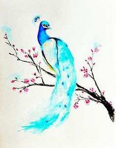 Peacock Painting - Watercolor Painting  - Cherry Blossoms - Bird Art - Peacock Art Print - Home Decor