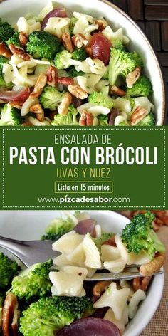 - Una manera diferente de comer brócoli: en ensalada, acompañado de uvas y nueces 🍇 🍇 Healthy Salad Recipes, Diet Recipes, Vegan Recipes, Cooking Recipes, Go Veggie, Eat Smart, Food Humor, Pasta Dishes, Food And Drink