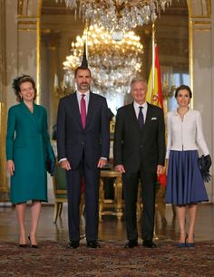 MyRoyals:  Spanish State Visit to Belgium, November 12, 2014-Queen Mathilde, King Felipe, King Philippe, and Queen Letizia