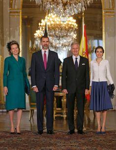 MyRoyals: Spanish State Visit to Belgium, November 12, 2014-Queen Mathilde, King Felipe, King Philippe, and Queen Letizia