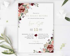 Burgundy Rehearsal Dinner Invitation by Forever Your Prints  #bridalinvitation #bridalshowerinvitations #bridalshowerideas #weddingshowerinvitation #floralbridal