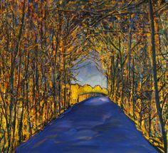 """""""John Konijn"""", de heldere kleuren, speelse takken en bomen vormen een mooi contrast met de rustige weg. Een mooie combinatie van kleuren met een """"knipoog"""" naar de werkelijkheid."""