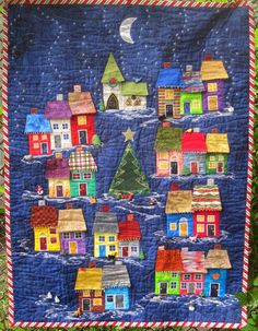 Judy Cooper Textile Images: Wonky Houses Love this! House Quilt Patterns, House Quilt Block, Quilt Blocks, Quilting Projects, Quilting Designs, Quilt Modernen, Landscape Quilts, Fabric Houses, Mini Quilts