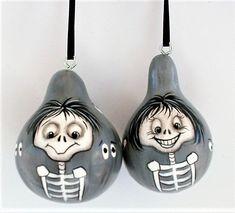 Hand Painted Gourds, Skull Hand, Black Ribbon, Hanger, Christmas Ornaments, Halloween, Holiday Decor, Mini, Silver