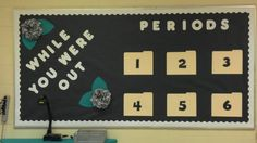 Middle School Bulletin Board: here is my bulletin board for students who miss a day...it keeps me from having to keep up with missed work. They have to come up and get their assignments!