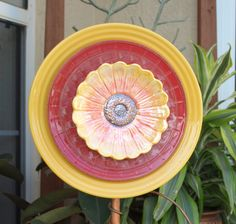 Glass Plate Flower NoKill EverBlooming garden art by ARTfulSalvage, $30.00