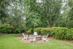 Outdoor Living | Outdoor Seating around Firepit | Lowcountry Living | Spacious Backyard | Conservation Area Palmetto Bluff