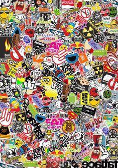 StickerBombing by RomaXP on DeviantArt Cartoon Wallpaper, Sticker Bomb Wallpaper, Graffiti Wallpaper Iphone, Crazy Wallpaper, Hype Wallpaper, Pop Art Wallpaper, Trippy Wallpaper, Wallpaper Iphone Cute, Galaxy Wallpaper