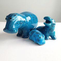 3 Metropolitan Museum William Blue Hippo Ceramic Figurines