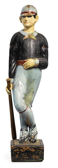 """""""Baseball Player"""" carved and painted pine trade figure by Samuel Robb,<br>New York, circa 1890, $ 550,000 ($ 450/600,000). Sotheby's Stephen and Petra Levin Collection."""